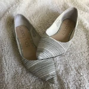 Sole Society Striped Quinn Pointy Toe Ballet Flat